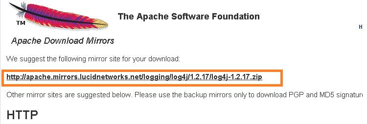 log4j downloading link