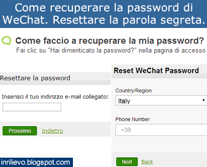 recupero password wechat