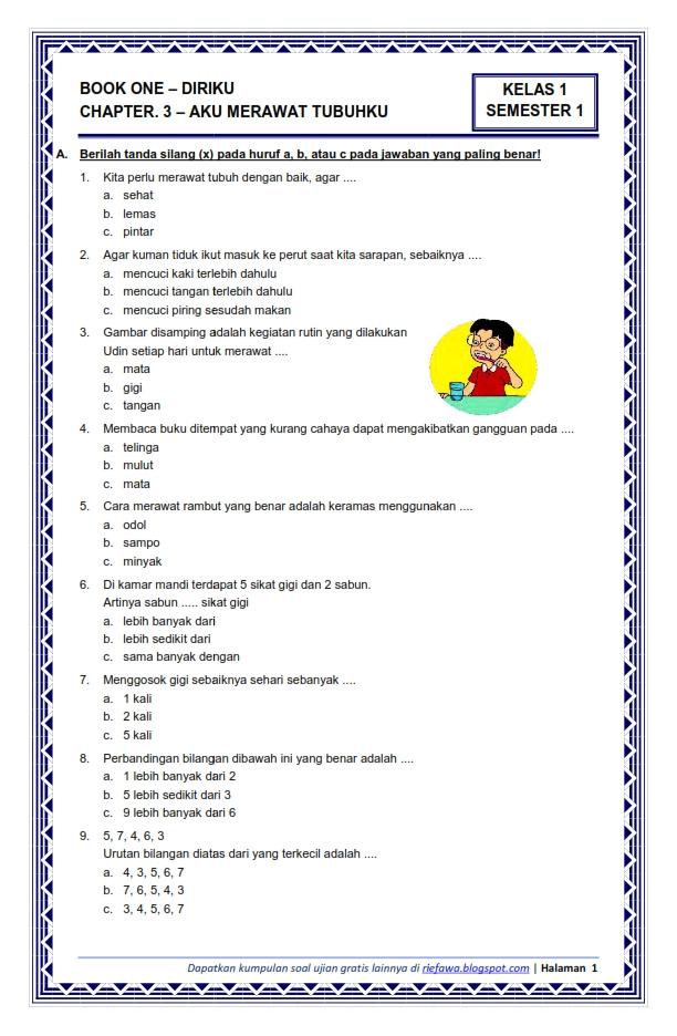 Soal Tema 1 Kelas 1 : kelas, Download, Kelas, Semester, Subtema, Diriku, Merawat, Tubuhku