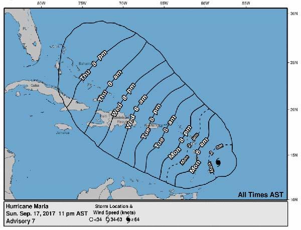 Vídeo pronóstico avance huracán María, categoría 1, por el Atlántico