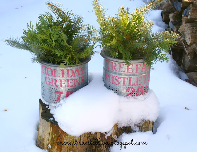 DIY Holiday Greens and Mistletoe Galvanized Stenciled Buckets