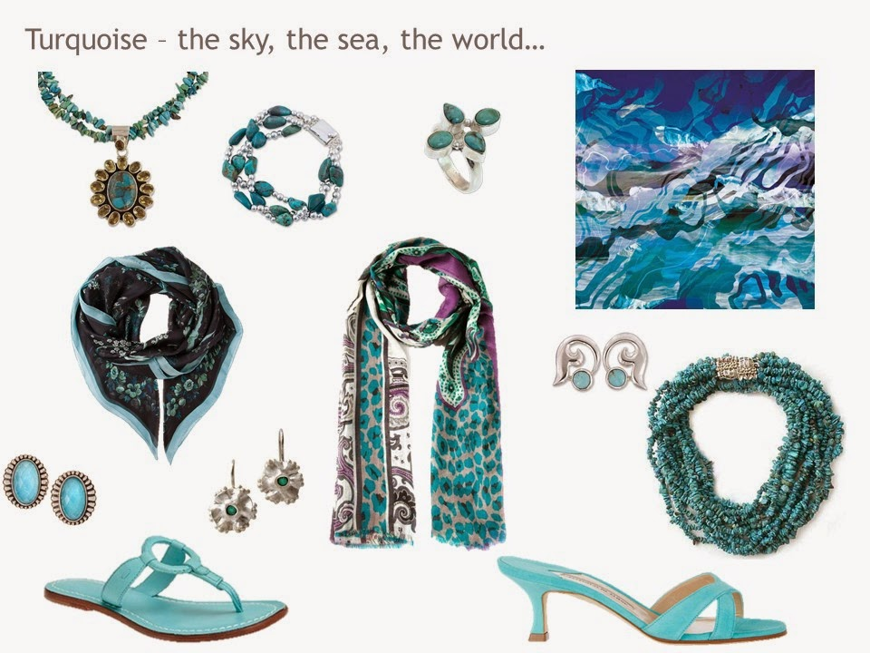 "a ""family""of accessories in turquoise blue, including jewelry, scarves and shoes"