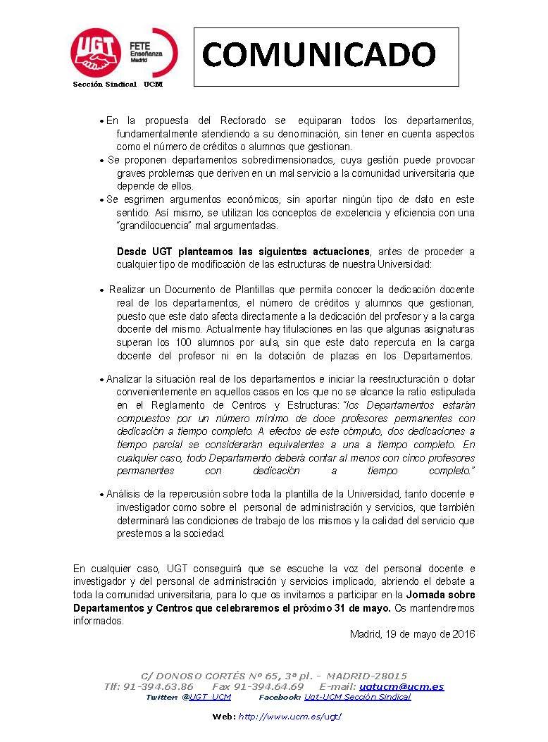 Sección Sindical de UGT en la UCM: POSICIÓN UGT ANTE DOCUMENTO DE ...