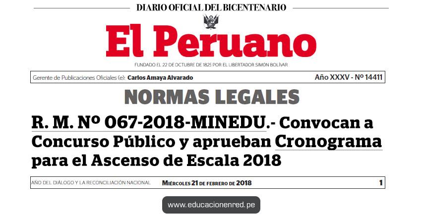 R. M. Nº 067-2018-MINEDU - Convocan a Concurso Público para el Ascenso de Escala de los Profesores de Educación Básica en la Carrera Pública Magisterial - 2018 y aprueban cronograma - www.minedu.gob.pe