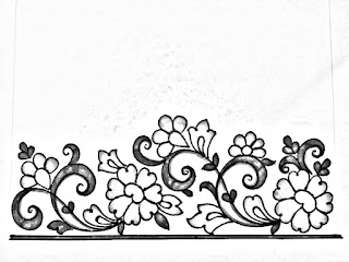 Saree border drawing for hand and designs