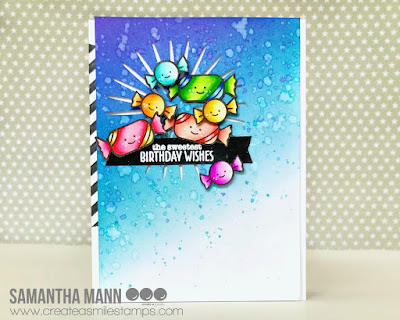 Sweetest Birthday Wishes Card by Samantha Mann, Create a Smile Stamps, candy, zig clean color real brush markers, Birthday, distress inks #inkblending #createasmile #birthday #cards