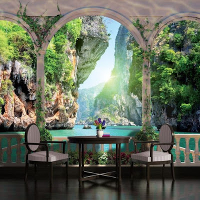 realistic 3D wallpaper design for dining area at home and restaurants