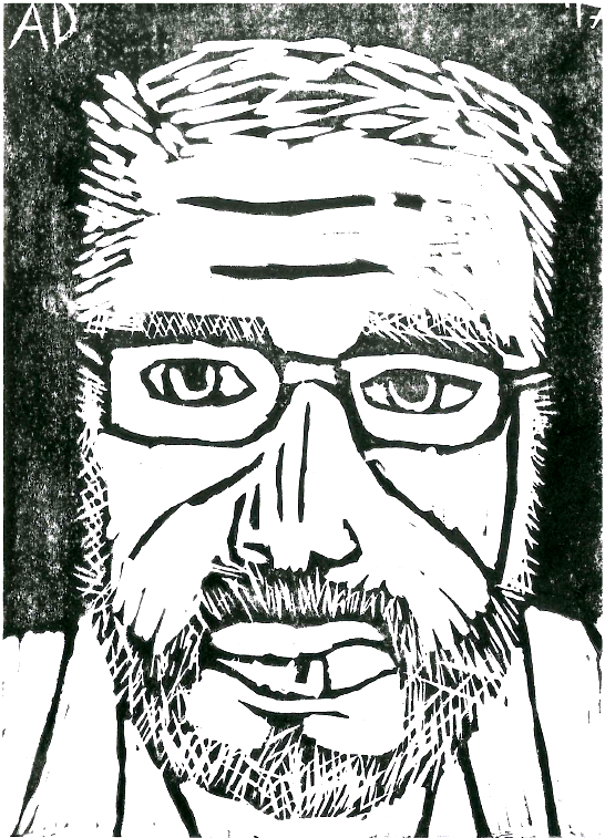 My first attempt at a linocut self portrait