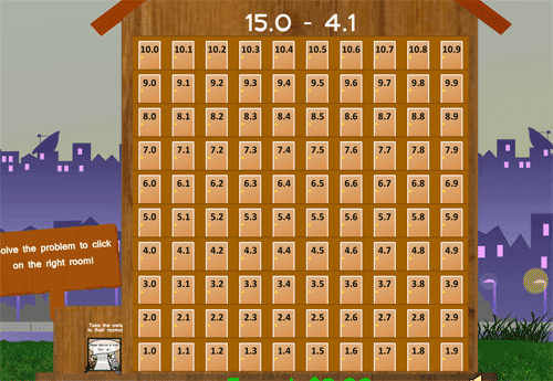 Subtracting decimals game with and owl hotel