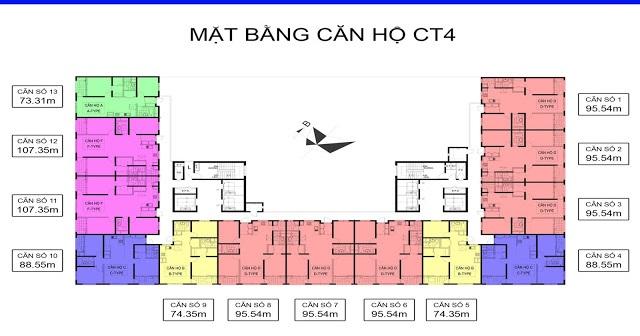 Mặt bằng tòa Ct4 chung cư booyoung