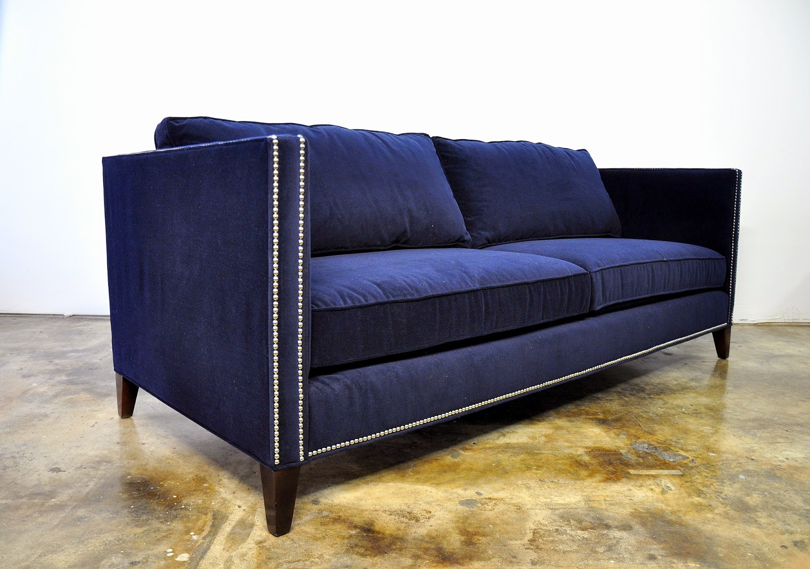 Blue Suede Sofa Heavy Duty Inflatable Uk Select Modern Mitchell Gold 43 Bob Williams