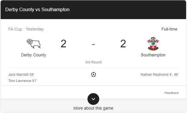 Gol Derby County 2-2 Southampton Highlights