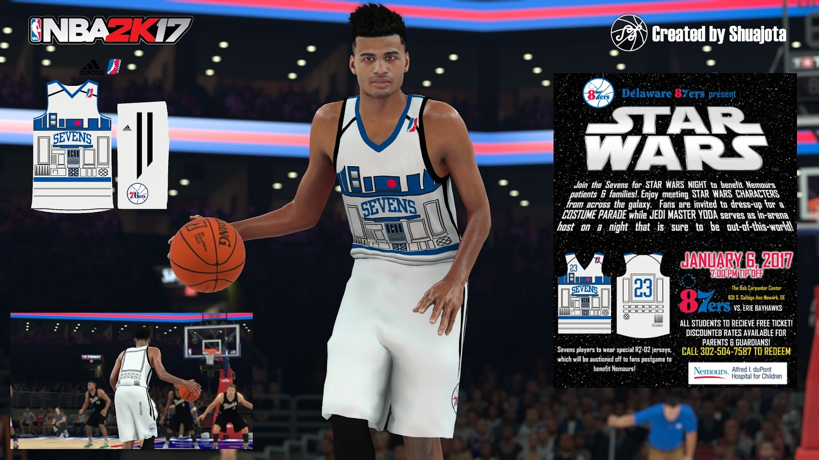 DNA Of Basketball | DNAOBB: NBA 2K17 Delaware 87ers (Star Wars Night) Jersey by Shuajota