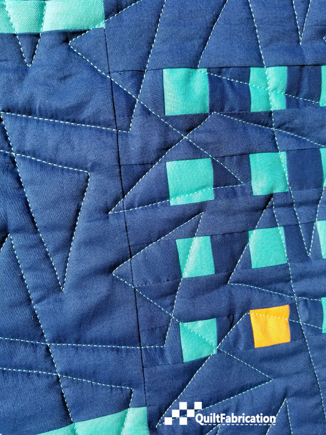 Hippo Blue quilting closeup
