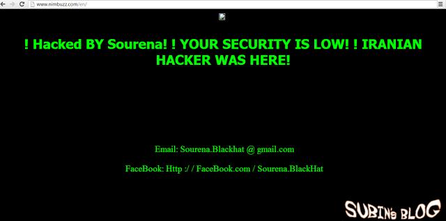 NimBuzz Official Website hacked by Iranian Hackers - Subin's