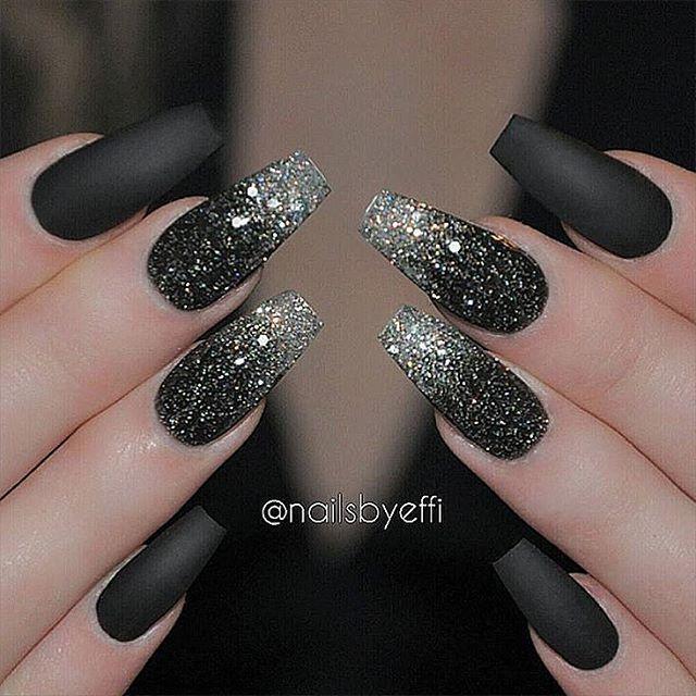 Wicked black medusa glitter nails prinsesfo Choice Image