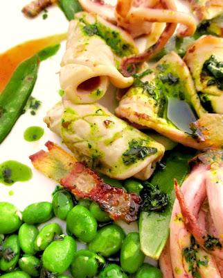 Calamar & Guanciale, Légumes Verts, Jus de Veau