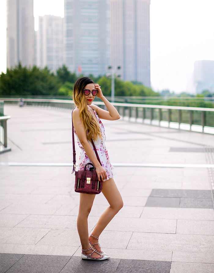 Floral romper, cookbook store romper, quay sunglasses, chanel necklace, 31phillip lim, valentino rockstuds, summer rompers, street style in shanghai, san francisco fashion blog