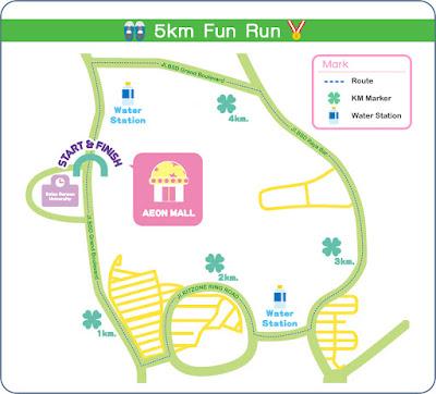 Rute Hello Kitty Run 2016 Tangerang Selatan AEON Mall BSD City Bumi serpong damai