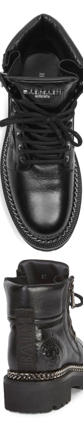 Balmain Army Chain Leather Boots