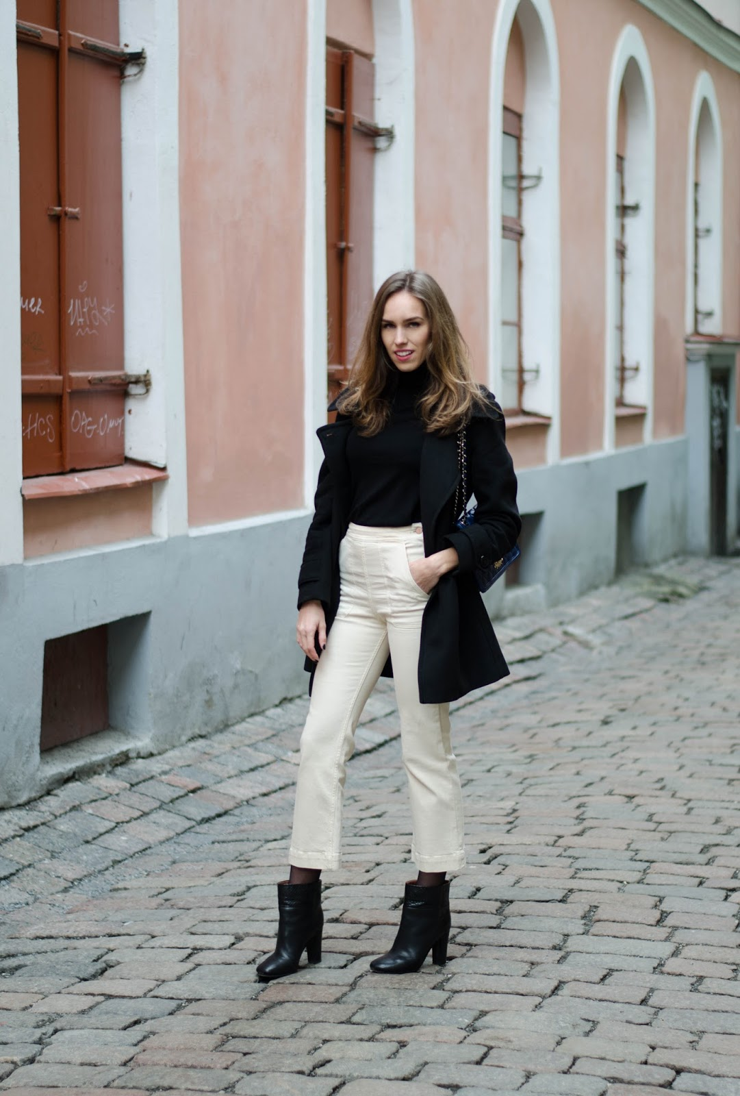 kristjaana mere kick flare ankle jeans pea coat winter outfit