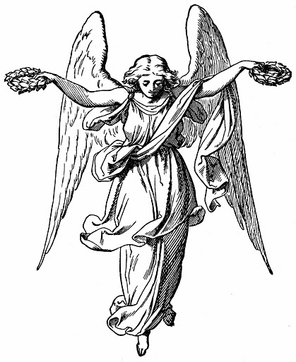 Angels with laurels
