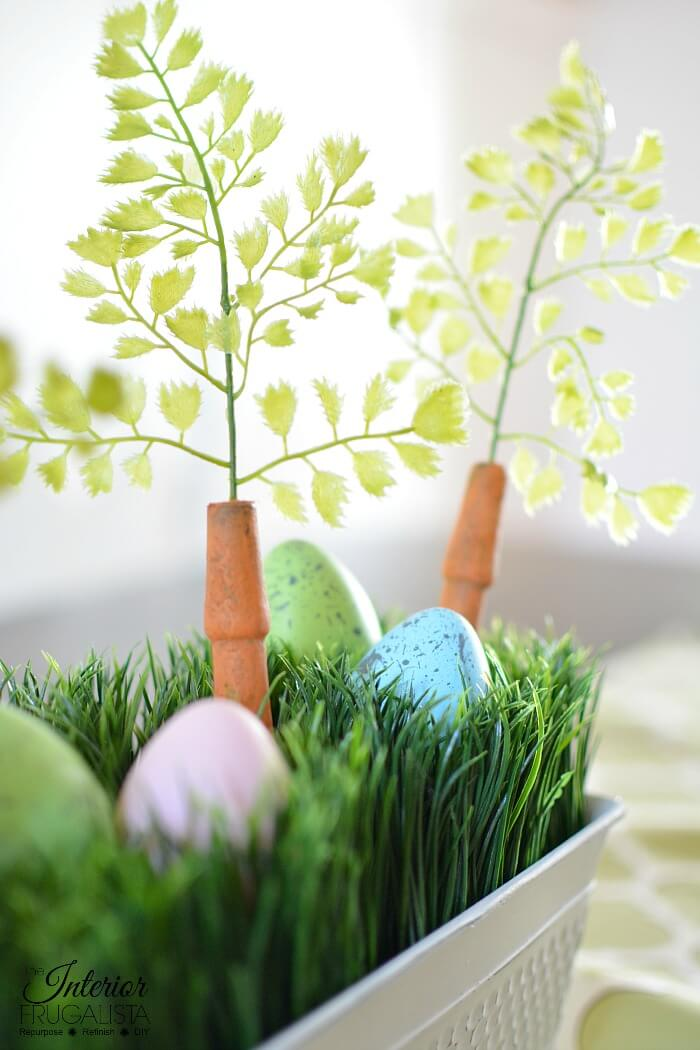 Easter Centerpiece Box With Faux Easter Eggs And Carrots