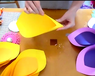 How to make giant hawaiian paper flowers abbi kirsten collections think about making the petal like you would form a cone mightylinksfo