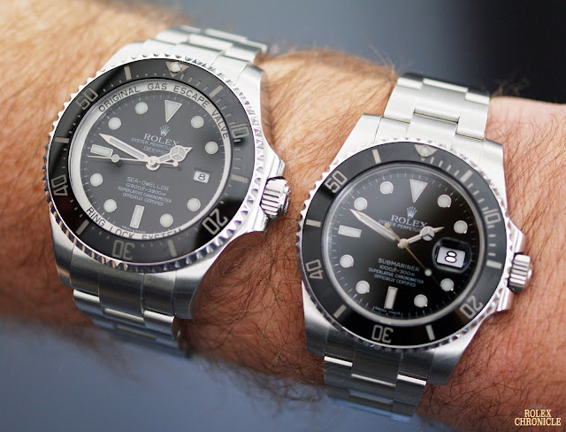 Wrist Shot of rolex Deepsea (left) and Submariner (right) Side by Side