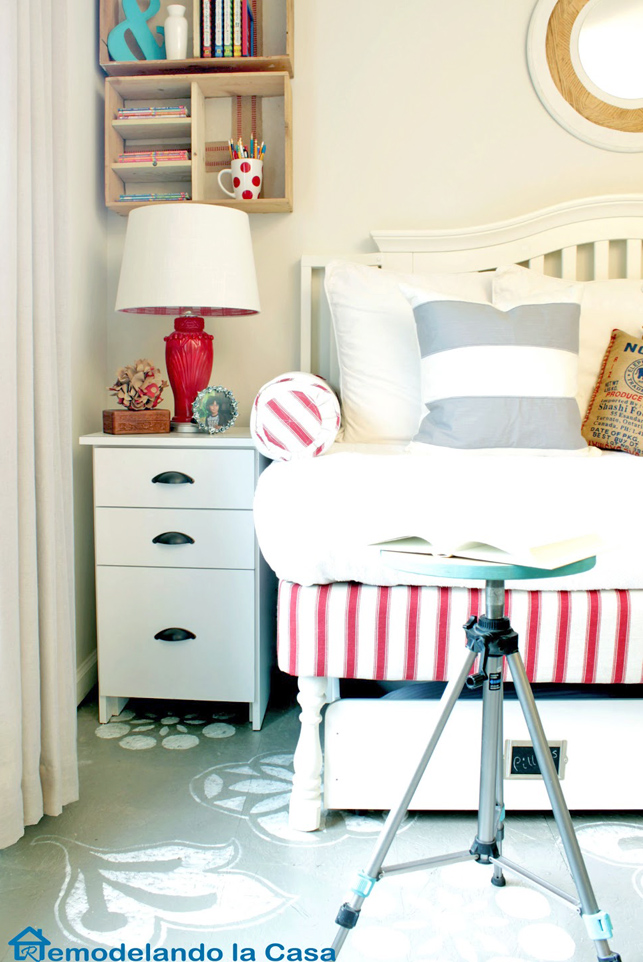 red and grey bedroom with repurposed decor