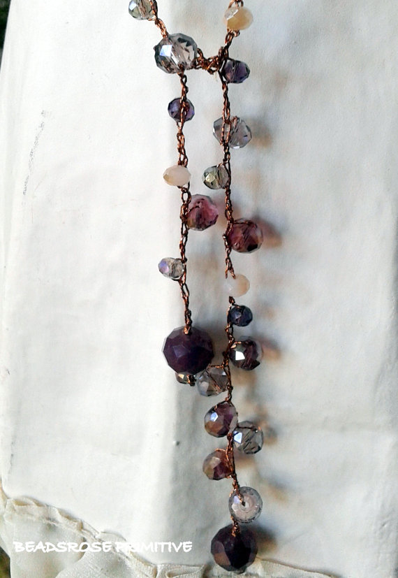 Beadsrose Primitive 1001 Collana Uncinetto Lariat Vintage