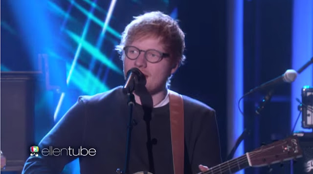 "Ed Sheeran Performs ""Shape Of You"" On Ellen Show"