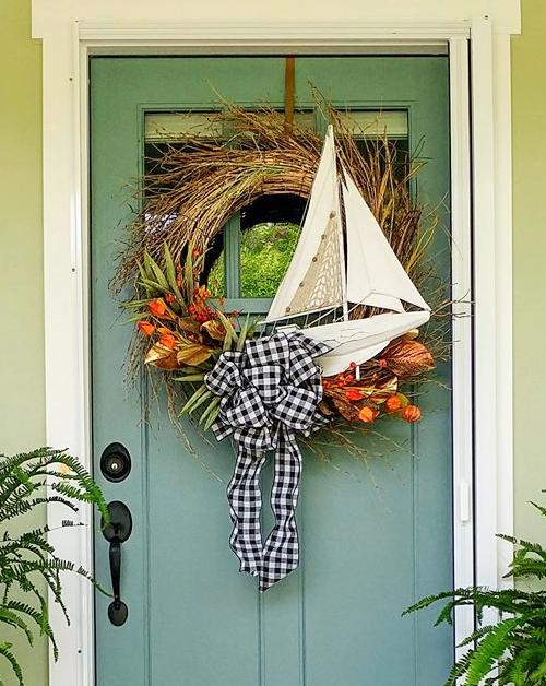 Beach Cottage Fall Decor For Front Door Porch Coastal Decor Ideas Interior Design Diy Shopping