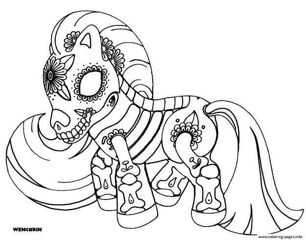 Free Sugar Skull Poney Colouring Print Free Sugar Skull Poney Coloring Pages