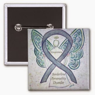 Borderline Personality Disorder (BPD) Awareness Ribbon Grey Angel Lapel Pins Art Pendants