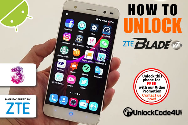 Factory Unlock Code ZTE Blade V7 from Three Network