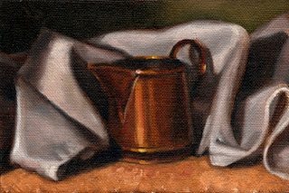 Oil painting of a small copper jug nestled amongst the folds of a white tea towel.