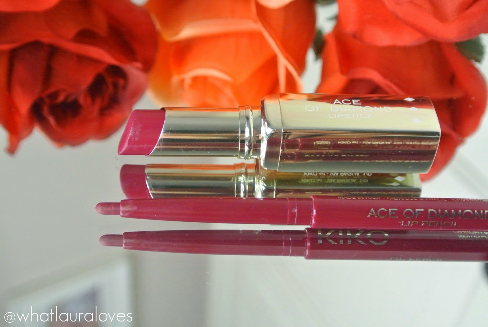 Kiko Ace of Diamond Lipstick and Lip Pencil Refined Burgundy Wine Berry Coloured Lips