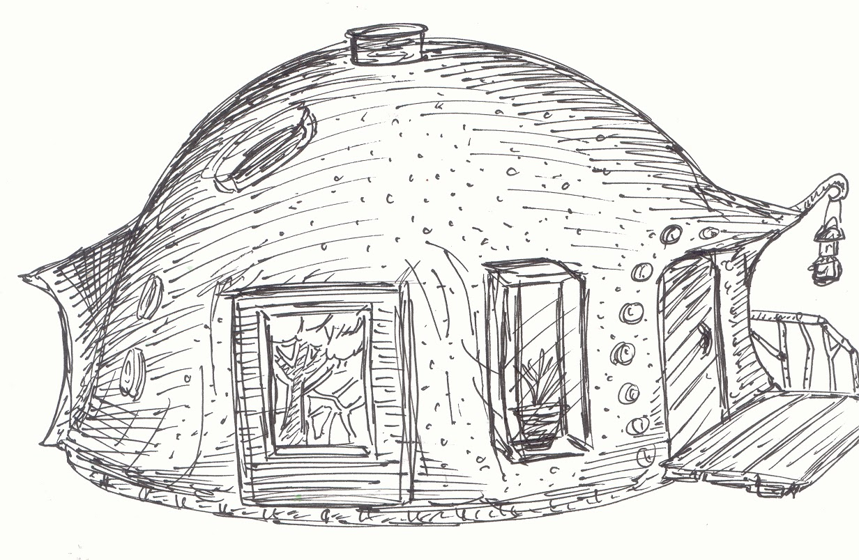 A freehand sketch of an idea for a free form ferrocement tiny dome house or a cobearth bag small homedwelling by derek deek diedricksen