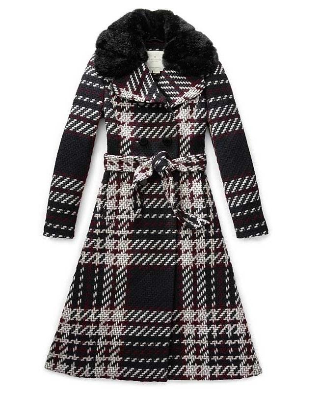 Kate Spade Fur Collar Chunky Plaid Coat