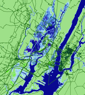 Seawater inundation projected for New York City by 2033 and its effect on internet infrastructure. Anything in the blue shaded areas is estimated to be underwater in 15 years. Credit: Paul Barford) Click to Enlarge.