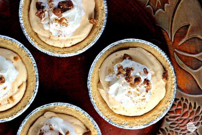 Mini Pumpkin Pecan No-Bake Cheesecakes | by Renee's Kitchen Adventures - easy dessert recipe for little pumpkin cheesecake #EffortlessPies ad