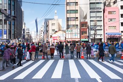 Tokyo Marathon 2017 in Asakusabashi, Tokyo.
