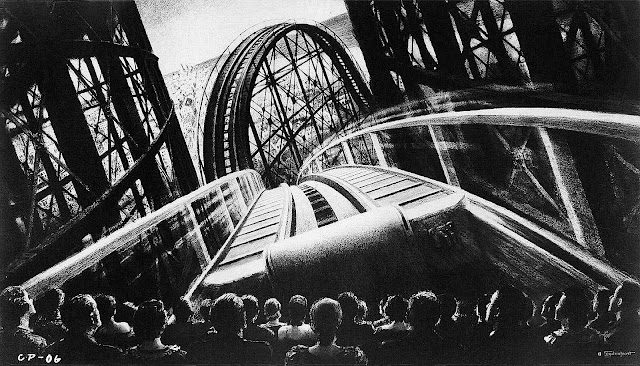an Alexander Leydenfrost illustration of a cinema audience thrilled by a roller coaster ride