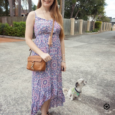 awayfromtheblue instagram | SAHM style shopping day Jeanswest Sophia high-low maxi dress neutral camera bag