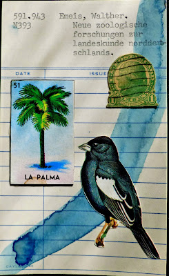library card Dada Fluxus mail art collage postage stamp thomas jefferson bird mexican lottery card la palma palm tree
