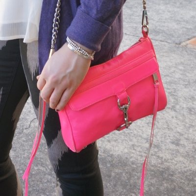 Rebecca Minkoff neon pink mini MAC  with purple cardigan printed jeans | AwayFromTheBlue