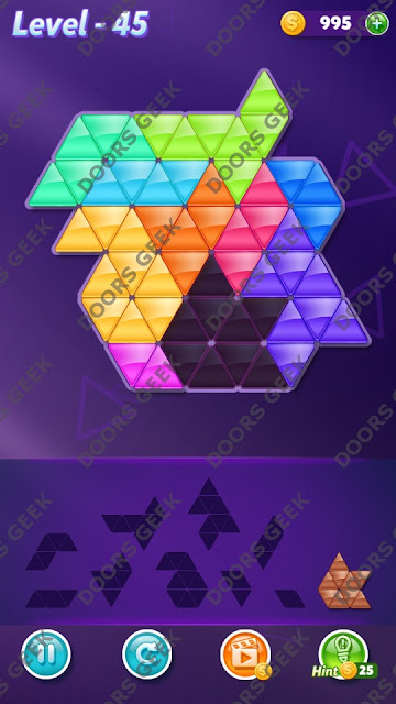 Block! Triangle Puzzle Master Level 45 Solution, Cheats, Walkthrough for Android, iPhone, iPad and iPod