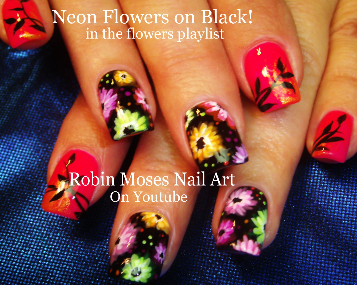 Nail Art by Robin Moses: Neon Striped Nail Art Design Tutorial up ...