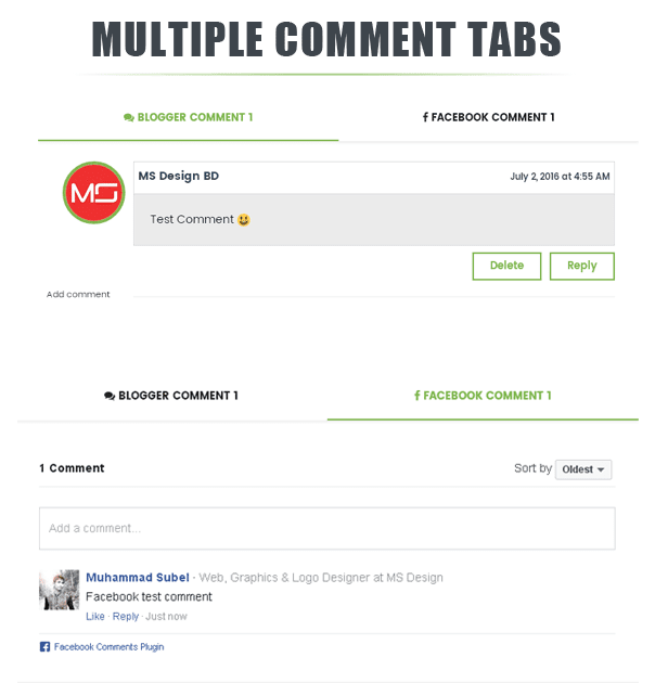 True Mag Multiple comment tabs